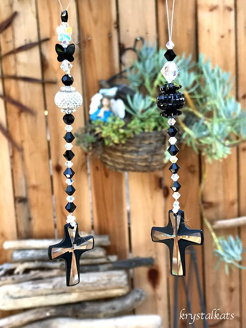 Black and Clear Swarovski Crystal Cross Suncatchers for Car or Home