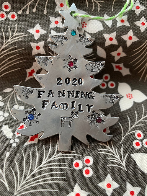 Custom Made for You Silver Christmas Tree Metal Ornament Hand Stamped Your Name