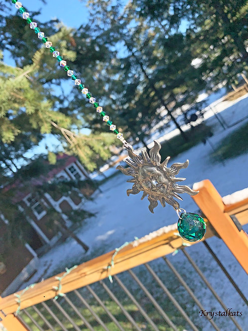20mm Green Crystal Ball & PewterSunny Sun Suncatcher