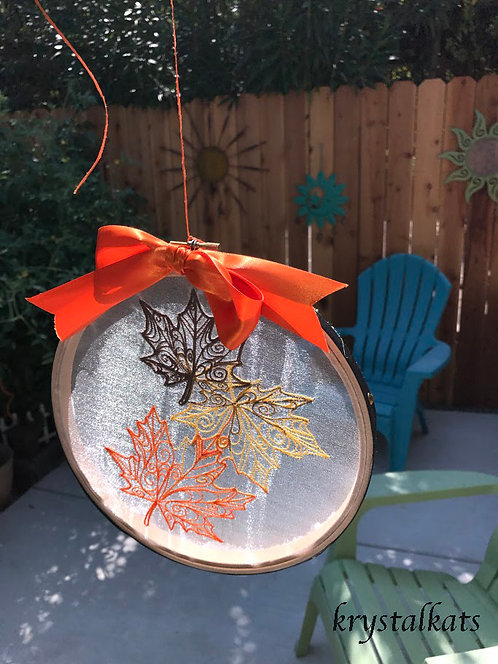 Fall Leaf Embroidery See Through Window Suncatcher with Swarovski Crystals