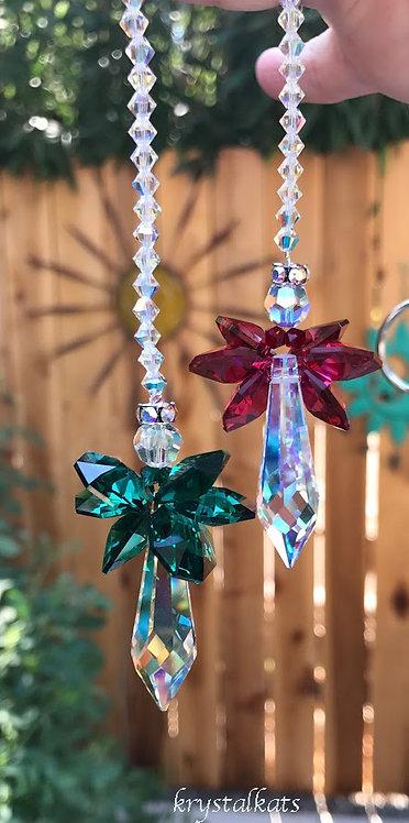 Holly and Ivy Angel Crystal Rainbow Christmas Car Ornament Crystal Suncatcher