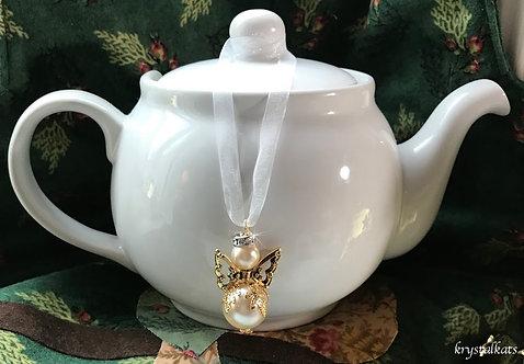 Golden Fat Teapot Angel, Angel Suncatcher, Car Charm, Baby Shower Gift