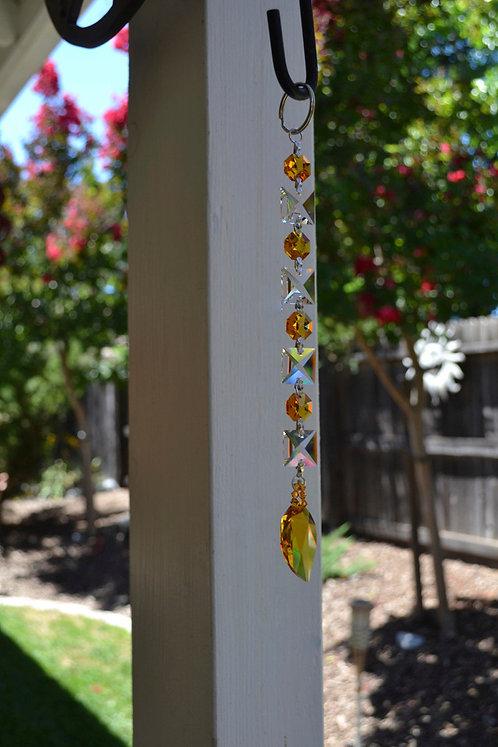 Gold New Leaf Swarovski Crystal Fall Autumn Window Suncatcher for Home Decor