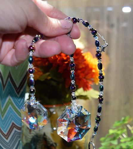 2 Sizes of Octagon Crystal, Rainbow Hematite Beaded Crystal Suncatcher Home/Car