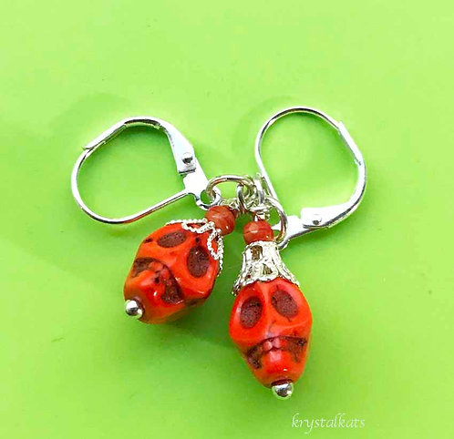 Orange Skull Earrings for Halloween, October, Skull Earrings