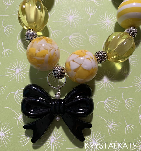 Little Girls Bubblegum Bee Necklace with Black Bow Yellow & Black Beads
