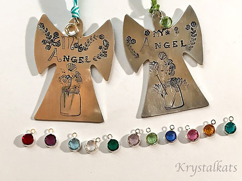 Customized Hand Stamped Large Angel Ornaments, Heirloom, Crystal Birthstone