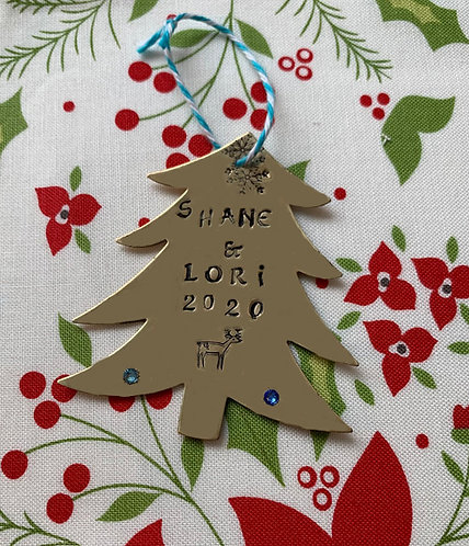 Custom Made for You Silver Christmas Tree Brass Ornament Hand Stamped Your Name