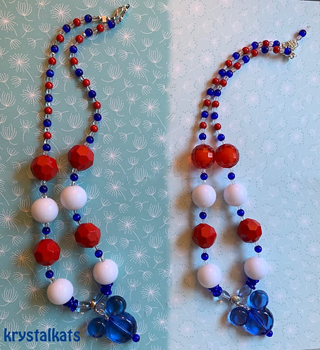 Little Girls Mickey Mouse July 4th, Patriotic Bubblegum Necklace