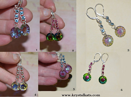 Handmade Swarovski Crystal Sun Earrings with Sterling Silver Lever Backs