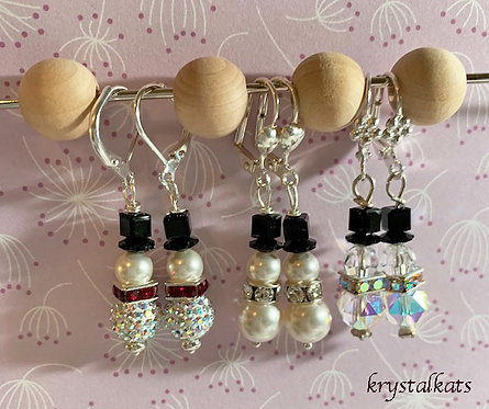 Handmade by Kat Swarovski Crystal Snowman Earrings