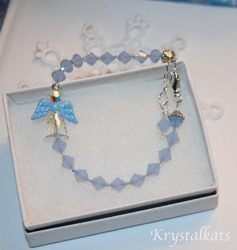 Baby Boy Sweetness Angel with Blue Glitter Wings Crystal Bracelet