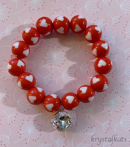 Valentine Hearts Bracelet with or without Swarovski Crystal Bling