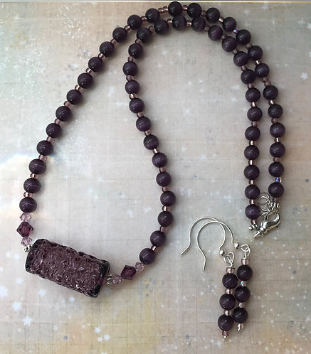 Vintage Spun Lace Amethyst Glass Vocal Necklace with Cat's Eye Beads