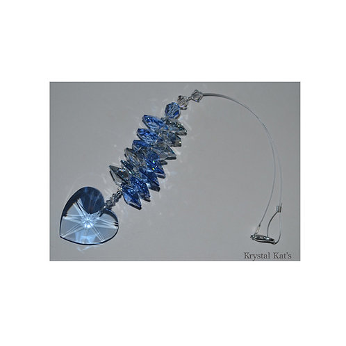 Aqua Sapphire Blue Rainbow Crystal Heart Car Charm Window Crystal