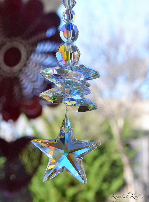 "7 1/2' or 10"" LG Twinkle Twinkle Little Star Crystal Suncatcher for Home or Car"