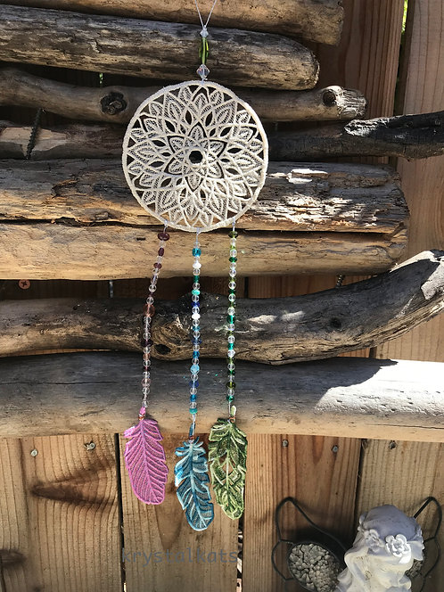 Lace Beaded Dreamcatcher, Variegated Thread Feathers, Beads