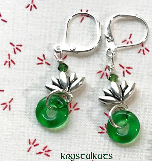 Green Donut Silver Lotus Flower Earrings