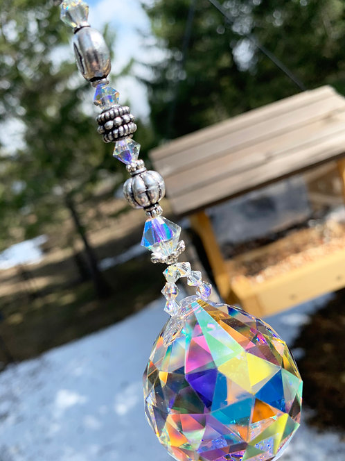 Large Rainbow Crystal Ball Suncatcher with Bali Beads and Swarovski Crystals