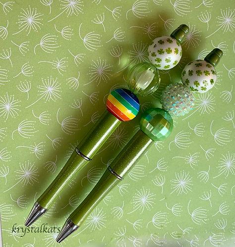 Saint Patrick's Day Bubblegum Chunky Bead Pens, Ink Refill & Velvet Gift Sleeve