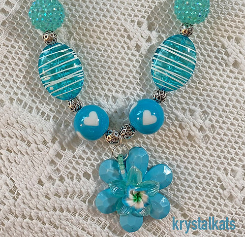 Little Girls Blue Bubblegum Necklace with Pretty Flower Pendant