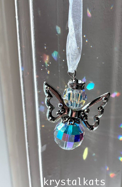 Fat Large Round Crystal AB Teapot Angel Suncatcher, Car Charm, Car Jewelry