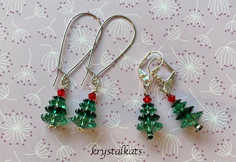 Handmade by Kat Swarovski Crystal Tree Earrings Set