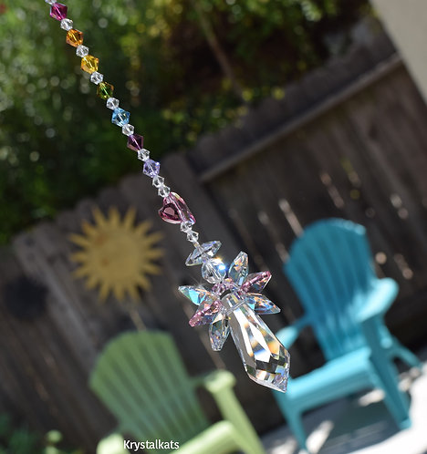 Baby Girl Angelica Pink Heart Guardian Angel Crystal Rainbow Car Window Charm