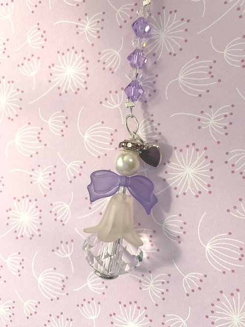 Angel Suncatcher with Purple Wings and Swarovski Crystals