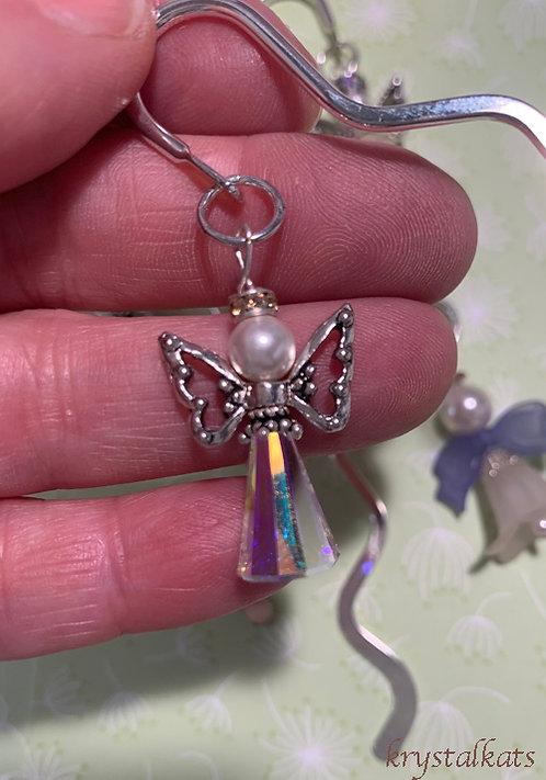 Silver Angel Wing Swarovski Crystal Shepherds Hook Metal Bookmarks