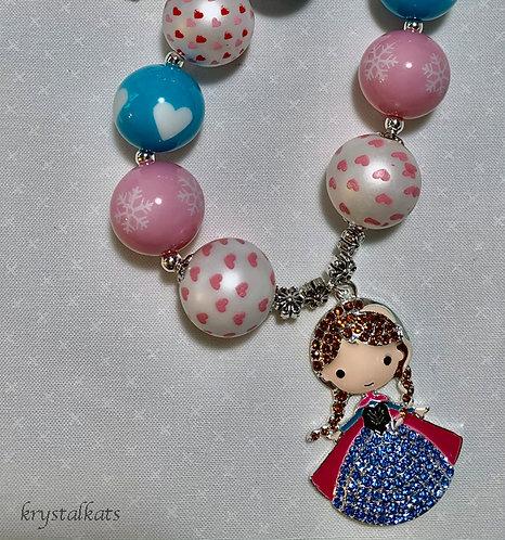Darling Little Girls Disney's Frozen Anna Charm Bubblegum Necklace