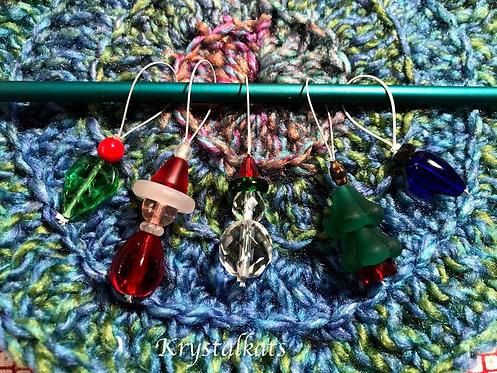 Christmas Knitting Needle Stitch Markers, Snowman, Santa, Ivy, Christmas Tree