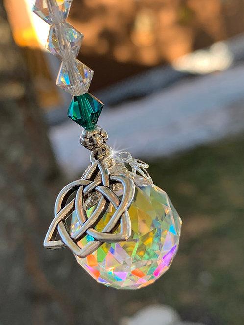 Irish Celtic Knot Crystal Ball Cross Suncatcher Car Charm Home Decor