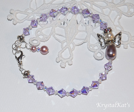 Baby Girl Angel Sweetness Violet & Mauve Pearl Bracelet, for Angel Lover, Mother