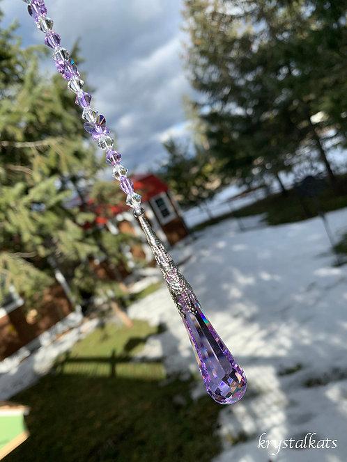 Large Violet Drop Swarovski Suncatcher with Butterflies Home Decor