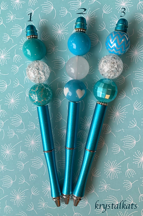 Metal Teal Chunky Beaded Bubblegum Beads Pens with Extra Ink and Velvet Pouch