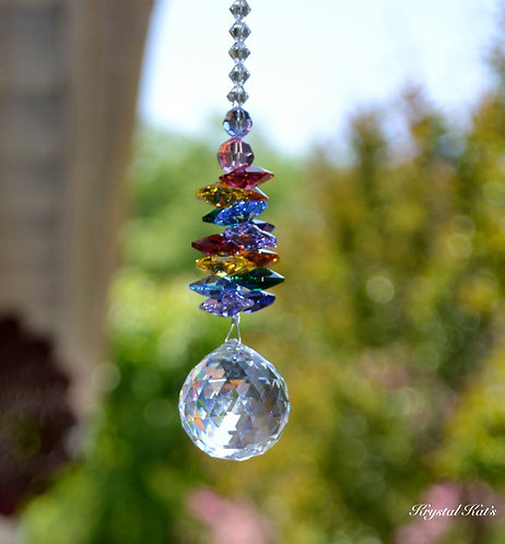 Long Double Rainbow Chandelier Crystal Ball Suncatcher, Hang in Home 4 Colors