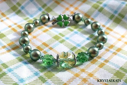 Marcasite Green 4 Leaf Clover Charm Swarovski Crystal Clovers Charm Bracelet