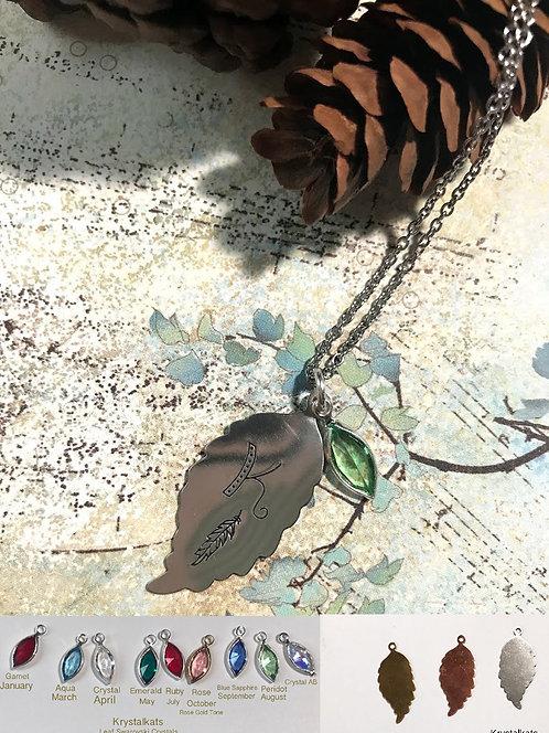 Custom Monogram Hand Stamped Leaf with Initial and Swarovski Crystal Leaf Charm