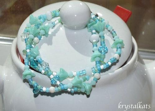 Mint Green Bell Flower Summer Sparkly Twisted 3 Strand Bracelet Earrings Set