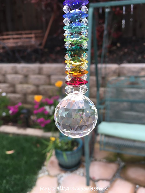 Long Double Rainbow Beaded Crystal Ball Ladder Stacked Suncatcher Home Decor