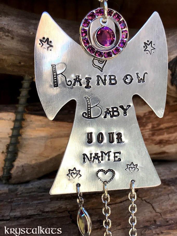 July Birthstone Rainbow Baby Angel Guardian Garden Angel Charm Hand Stamped Name Car Suncatcher Custom Name Metal Stamping January