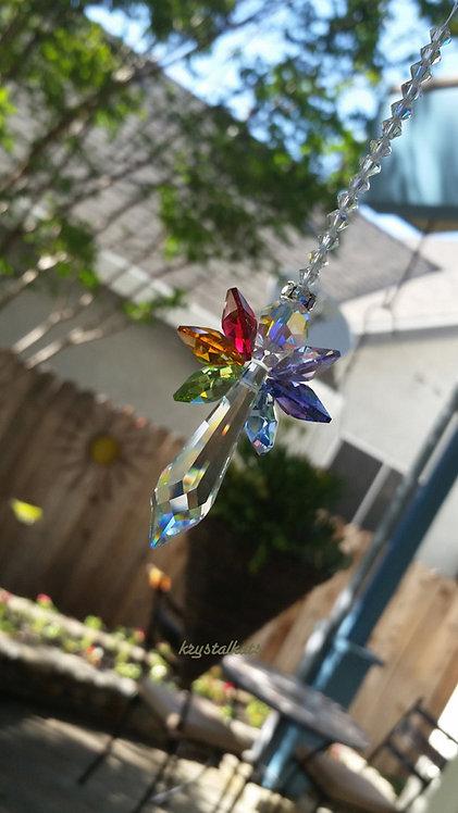 Rainbow Wings Guardian Angel Crystal Suncatcher