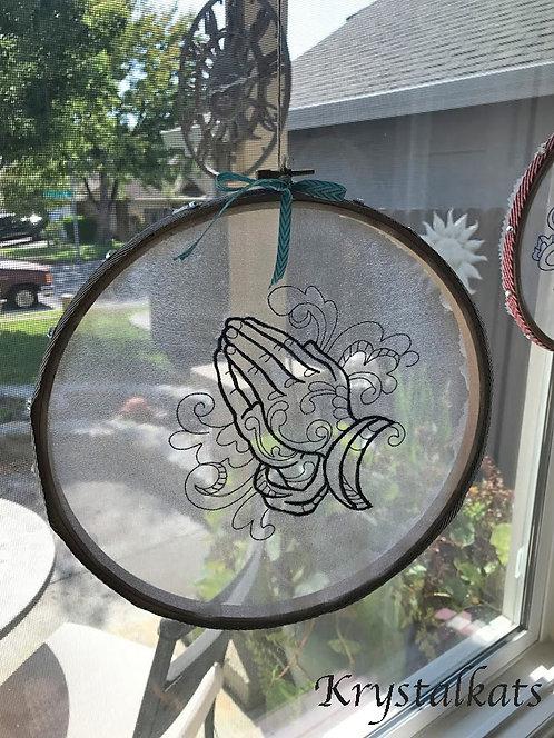 Praying Hands Embroidery See Through Suncatcher, Hoop Art Crystal Suncatcher