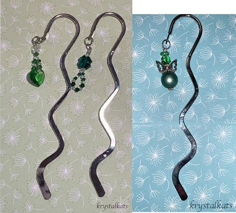 Green Clover Angel, Heart Butterfly, Clover Metal Shepherds Hook Bookmarks