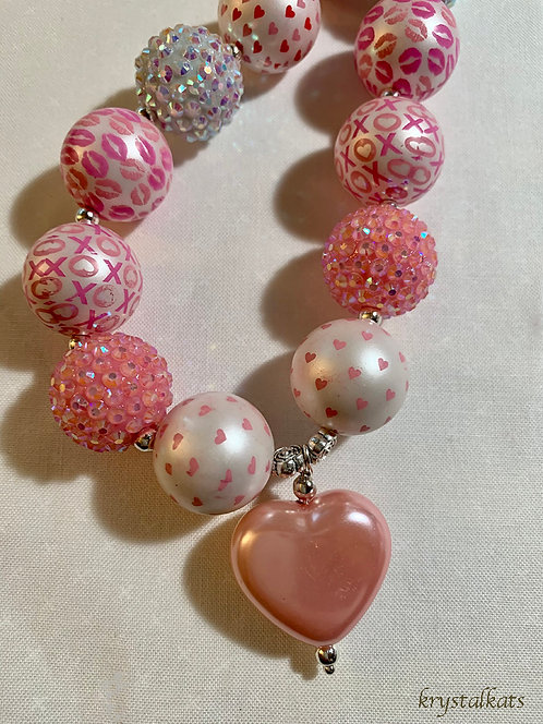 Little Girls Pink Heart, Valentine Chunky Bead Bubblegum Necklace Printed Design