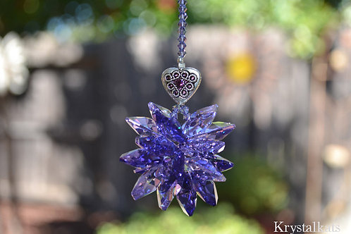 "10"" LG Purple Rainbow Cluster Starburst Star Suncatcher Home Window Crystal"