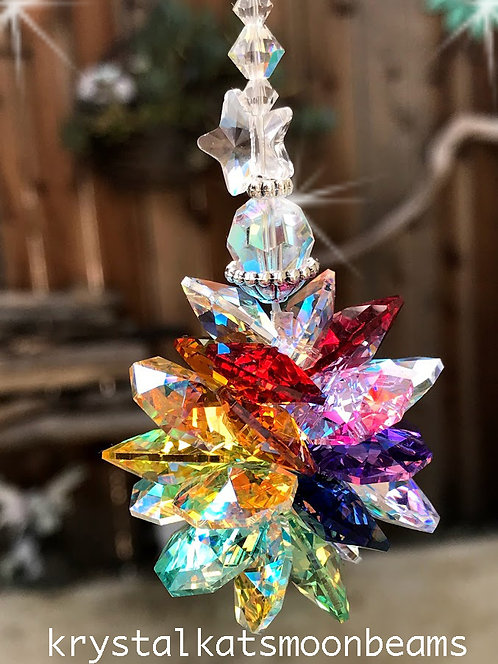 "10 1/2"" Long Starburst Suncatcher to Hang in Your Home, Home Decor Crystals"