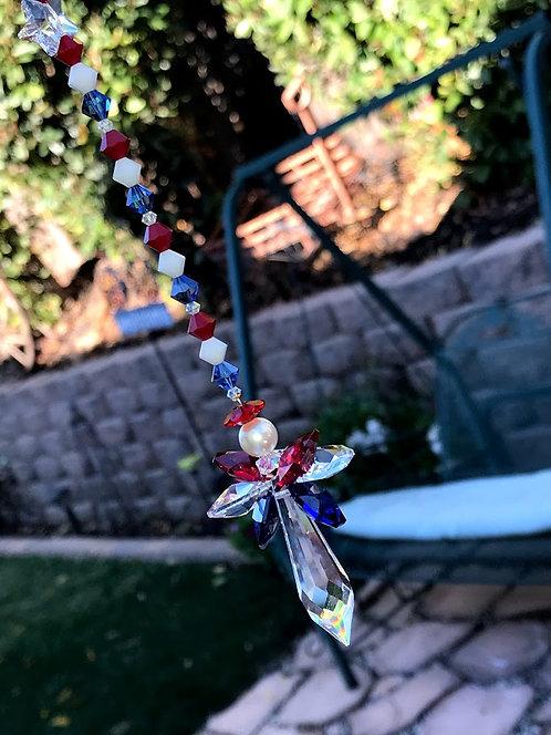 Red White Blue Crystal Angel Suncatcher Car Charm Window Crystal Vets, Memorial