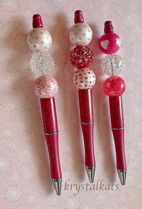 Valentine Bubblegum Chunky Bead Pens with Black Gift Velvet Sleeve & Extra Ink